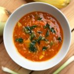 Red Lentil Vegetable Soup with Fried Scallions