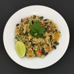 QUINOA BLACK BEAN BUTTERNUT SQUASH SALAD WITH LIME VINAIGRETTE