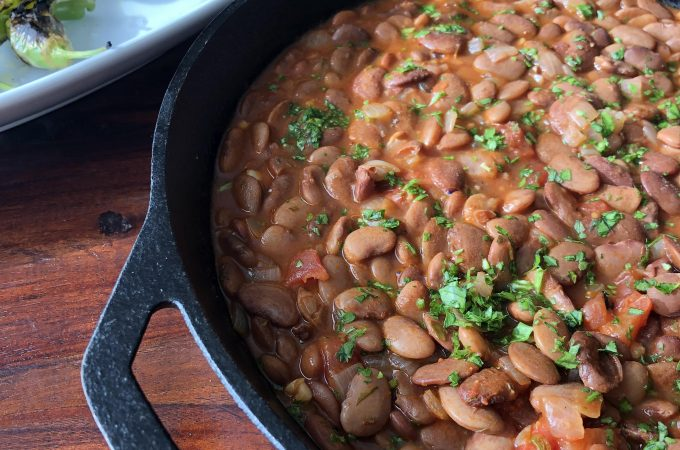 Greek style Beans Baked in Tomato Sauce and Herbs